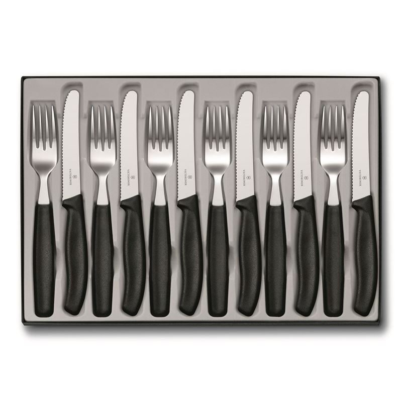 Victorinox –  12 Piece Steak Knife & Fork Set Black (Made in Switzerland)