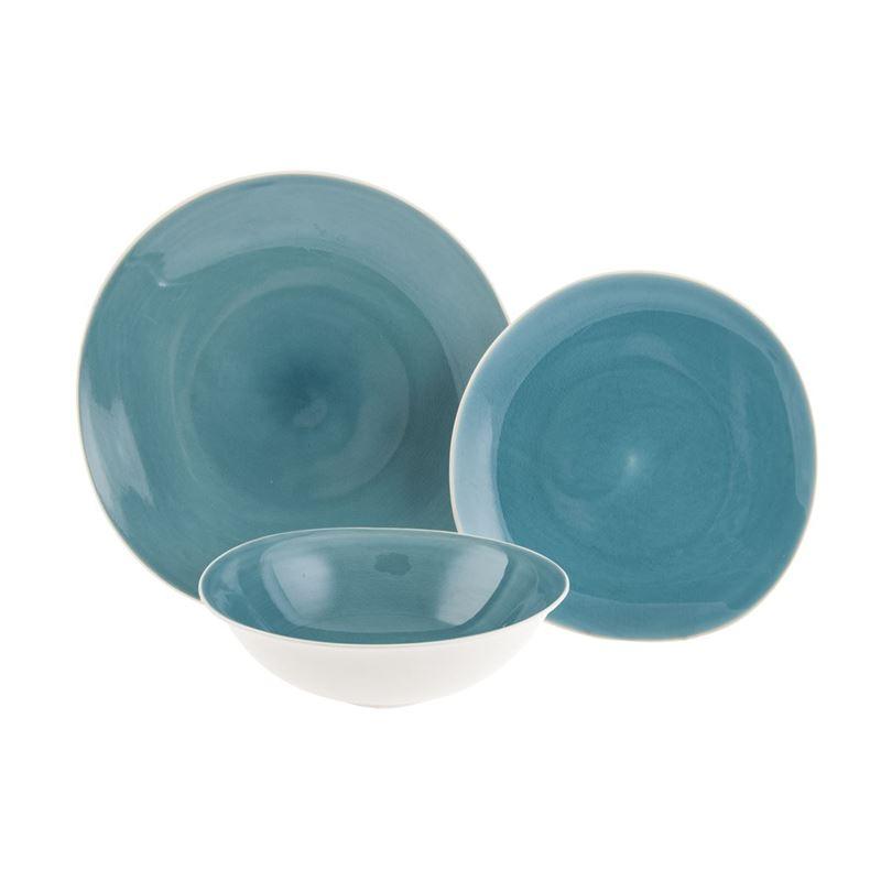 Benzer – Noosa Organic 12pc Dinnerset Reactive Glaze Sky Blue