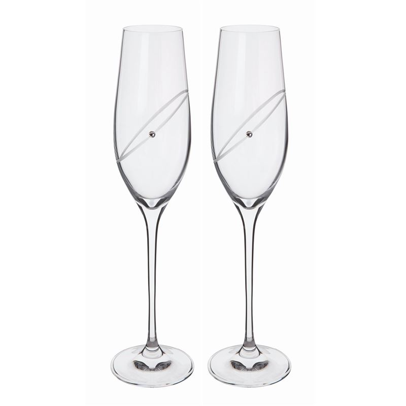 Dartington Crystal – Glitz Celebration Clear Flute 210ml Set of 2 (Made in Slovakia)