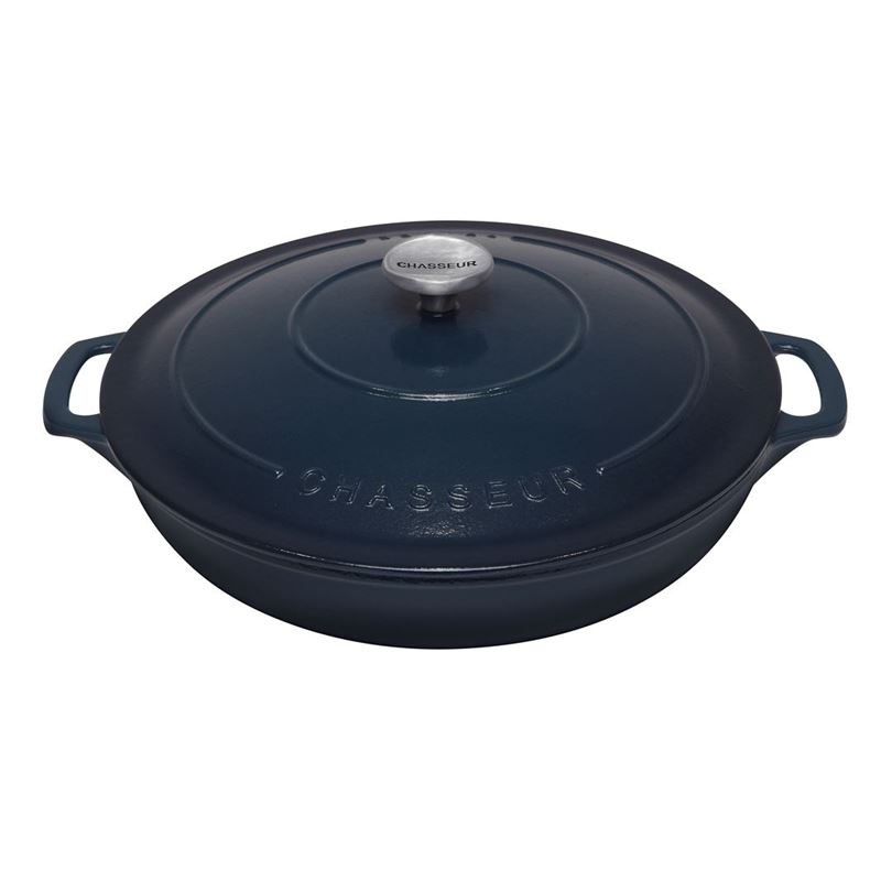 Chasseur Cast Iron – Liquorice Blue 30cm 2.5Ltr Low Round Casserole (Made in France)