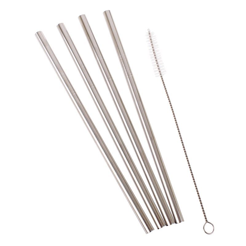 Appetito – Straight Smoothie Stainless Steel Straw set of 4 with Cleaning Brush