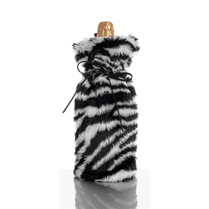 Ogilvies Designs – Absolutely Fab Fur Wine Bag Zebra