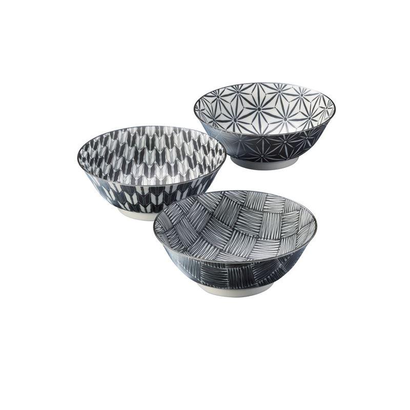 Komon by Noritake – Japanese Porcelain Footed Noodle Bowl 19.5cm Set of 3 (Made in Japan)