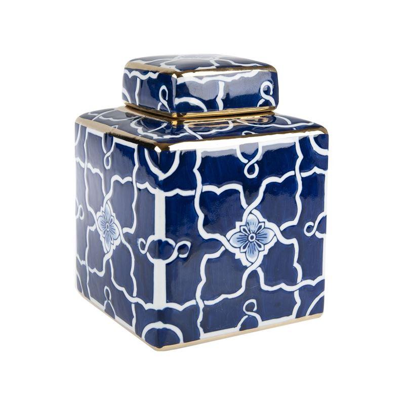 Pimbleton – Chinoiserie Lauren Square Temple Jar with Gold Trim 23cm