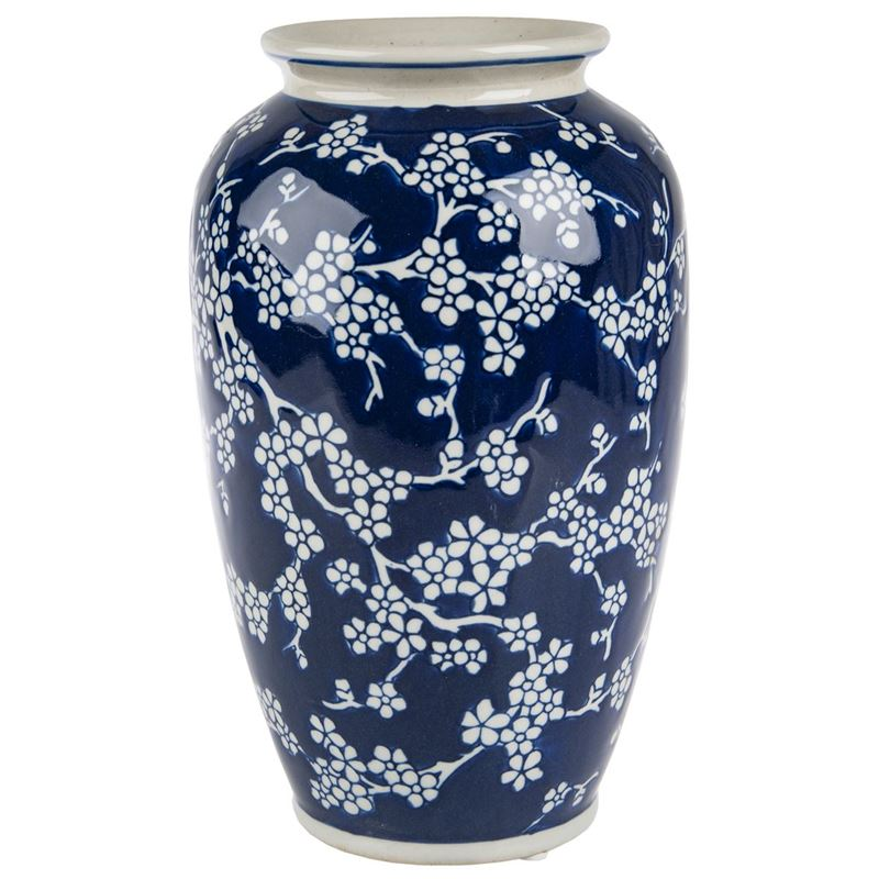 Pimbleton – Chinoiserie Bloom Indigo Tall Round Vase 27cm