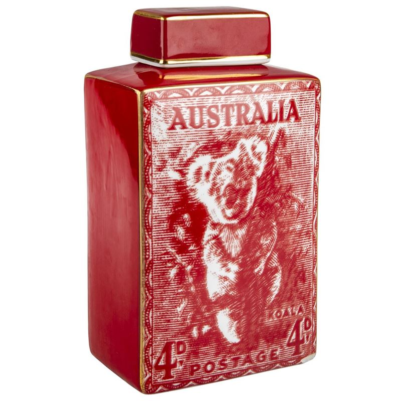 Pimbleton – Australian Stamps Collection Jar 28cm Red