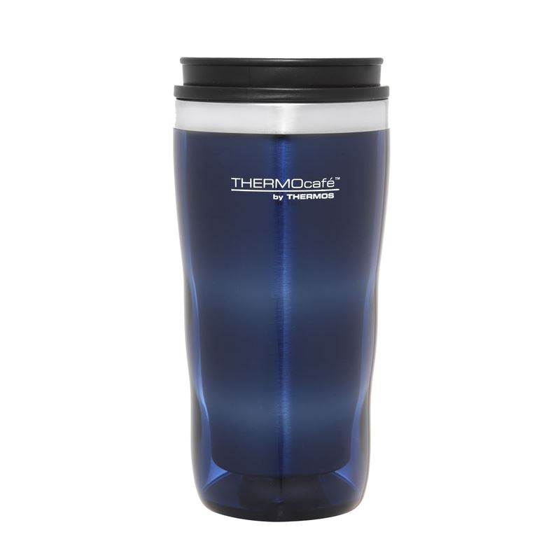 Thermocaf by Thermos – Travel Cup Tall Stainless Steel Inner 470ml Plastic Outer Travel Tumbler Blue