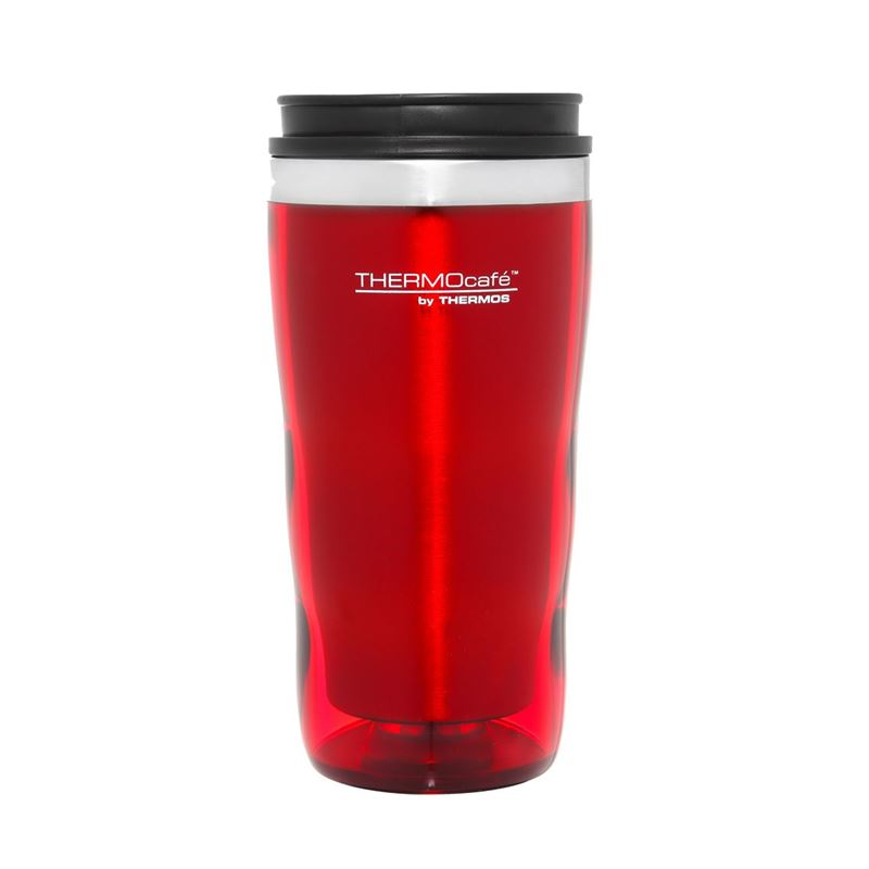 Thermocaf by Thermos – Travel Cup Tall Stainless Steel Inner 470ml Plastic Outer Travel Red