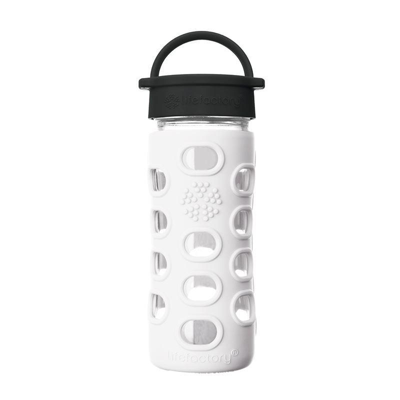 LifeFactory – Glass Hydration Bottle 350ml Classic Cap Bottle Arctic White