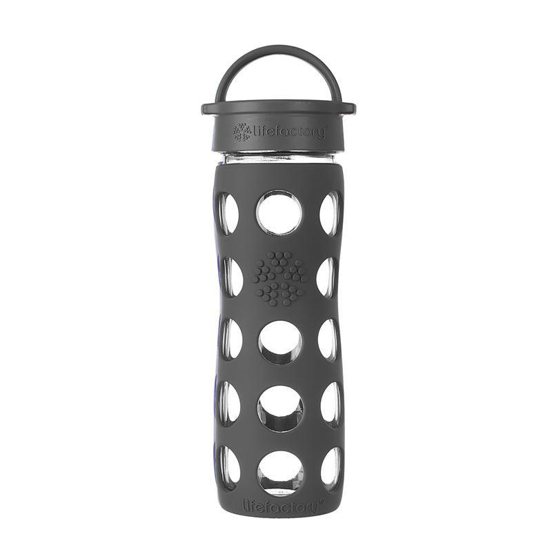 LifeFactory – Glass Hydration Bottle 475ml Classic Cap Bottle Carbon