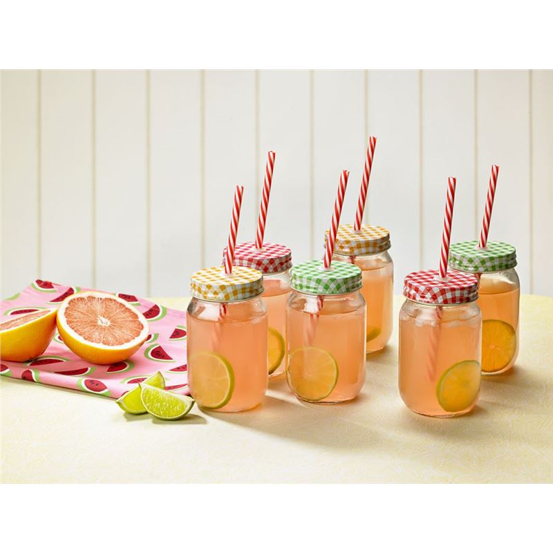 Anna Gare – Glass Jar Tumbler 450ml with Lid and Striped Straws set of 6