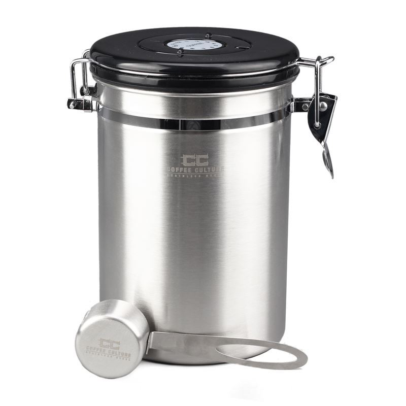 Coffee Culture – Stainless Steel Coffee Canister Large with Co2 Release Valve