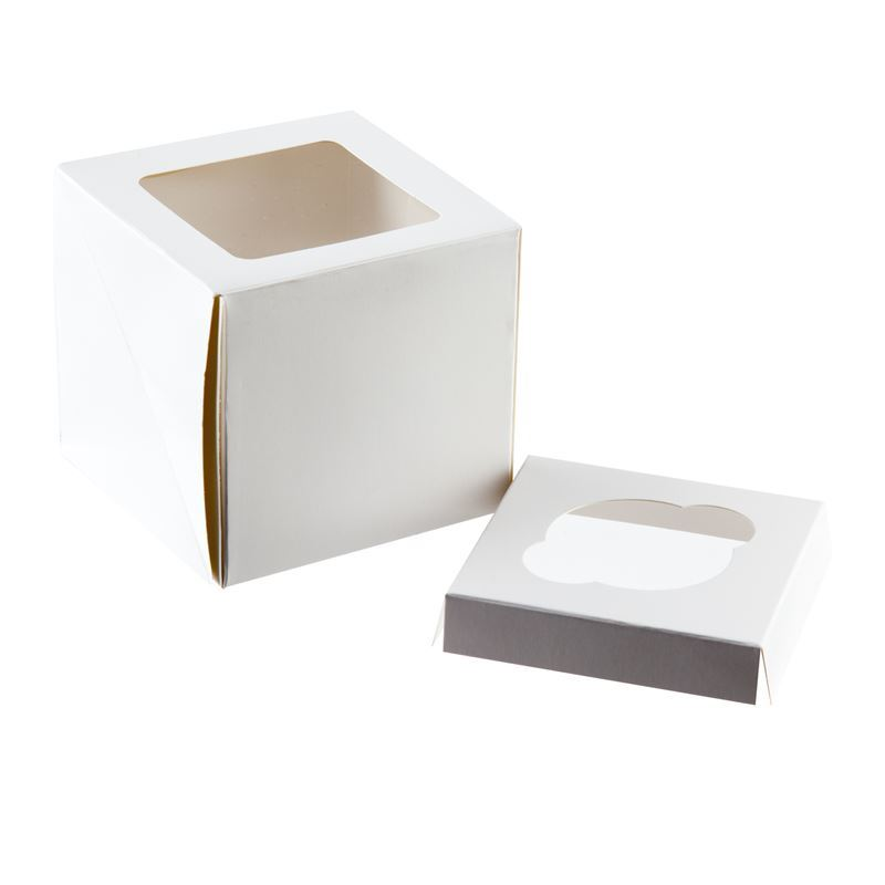 Mondo – White Cupcake Box for 1 Cupcake 10x10cm