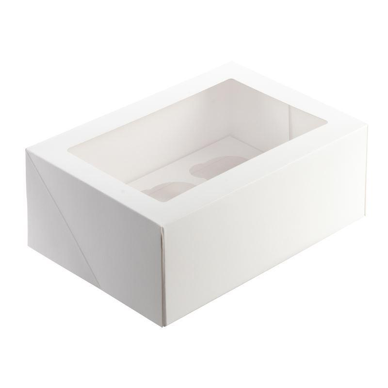 Mondo – White Cupcake Box for 6 Cupcake 25x17cm