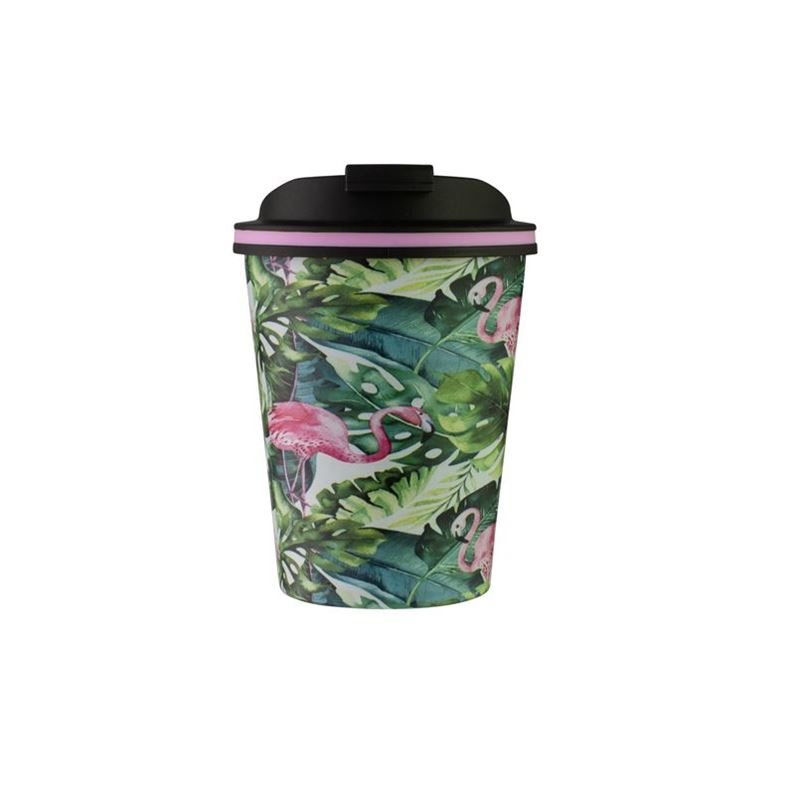 Avanti – GOCUP Double Wall Stainless Steel Coffee Cup 280ml Flamingo Leaf