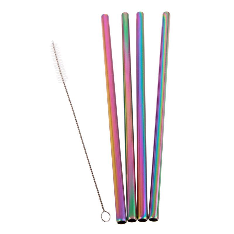Appetito – Stainless Steel Straight Smoothie Drinking Straw Set of 4 Rainbow