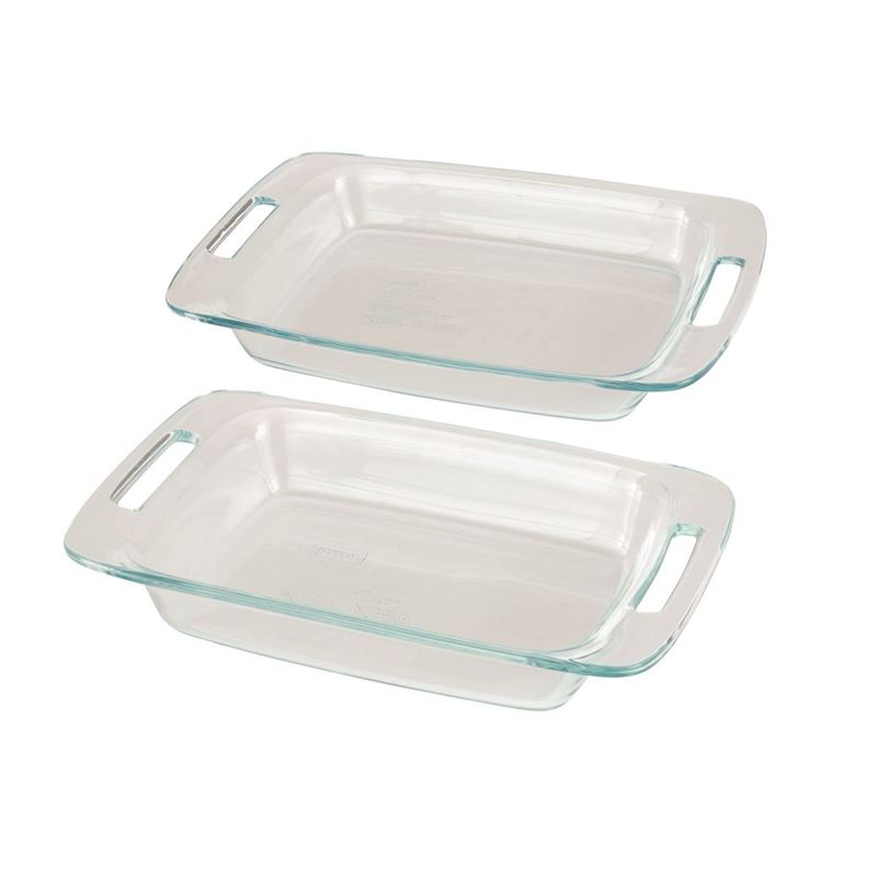 Pyrex – Easy Grab Oblong Baker Set of 2 (Made in the U.S.A)