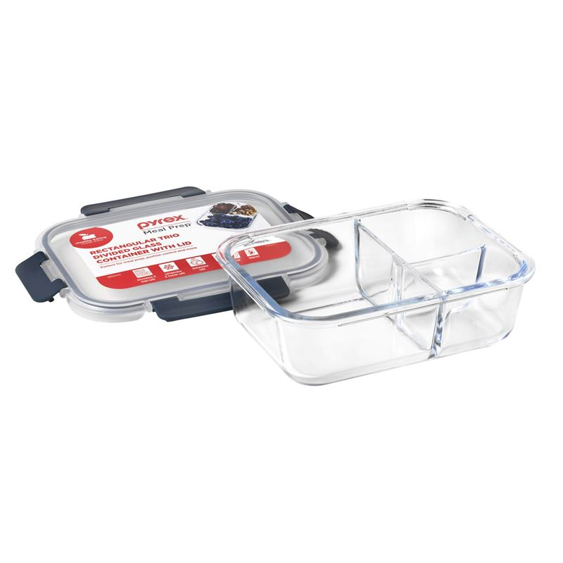 Pyrex – Meal Prep 950ml Rectangular Trio Divided Lunch Box