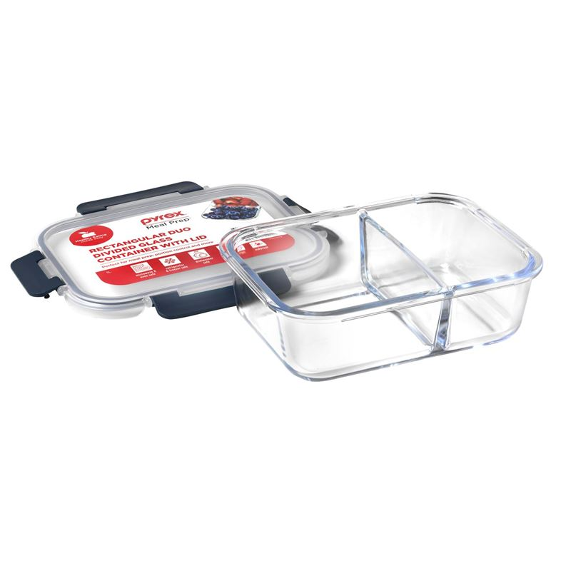 Pyrex – Meal Prep 1Ltr Rectangular Duo Divided Lunch Box