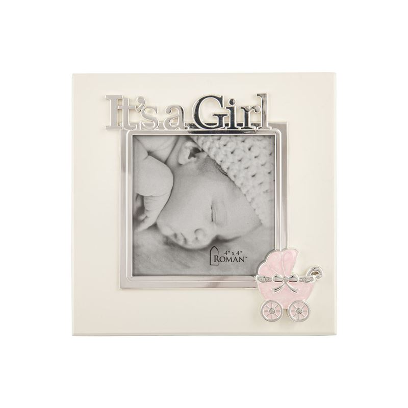 Roman – Caroline Collection Silver Plated 10.5cm Square It's a Girl Photo Frame
