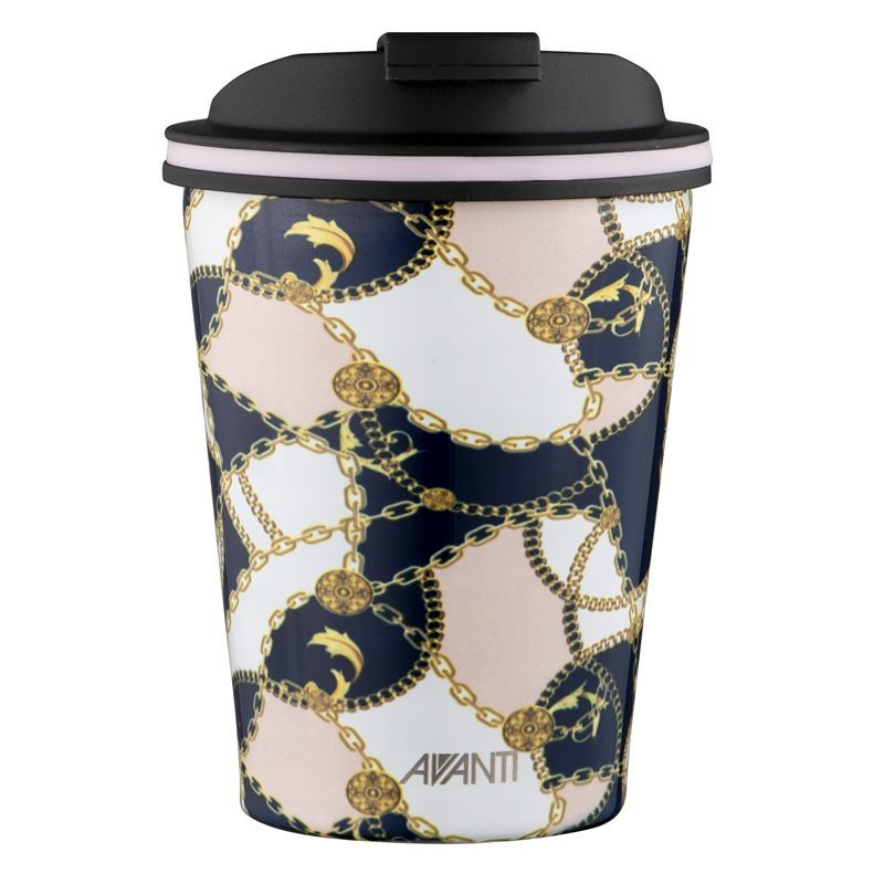 Avanti – GOCUP Double Wall Stainless Steel Coffee Cup 280ml Baroque Navy/Pink
