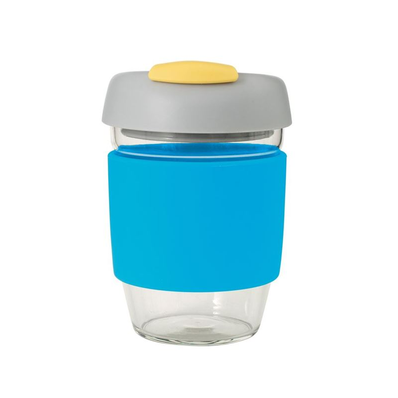 Avanti – GOCUP Glass Coffee Cup 355ml Blue Silicone Sleeve