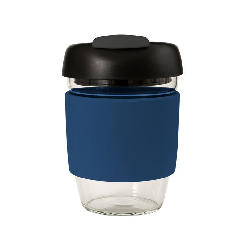 Avanti – GOCUP Glass Coffee Cup 355ml Navy Silicone Sleeve
