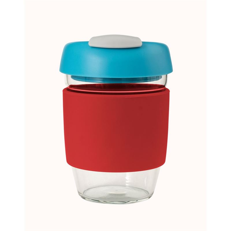 Avanti – GOCUP Glass Coffee Cup 355ml Red Silicone Sleeve