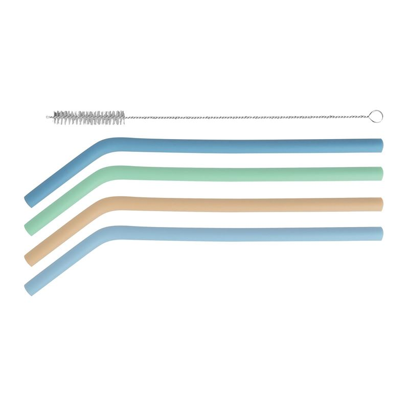 Avanti – Silicone Straws with Cleaning Brush Set of 4