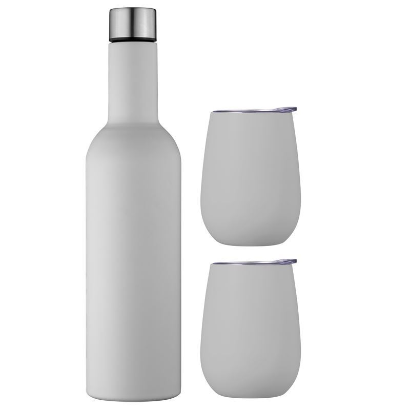 Avanti – Double Wall Insulated Stainless Steel Wine Bottle and Tumbler Traveller Set Dove Grey