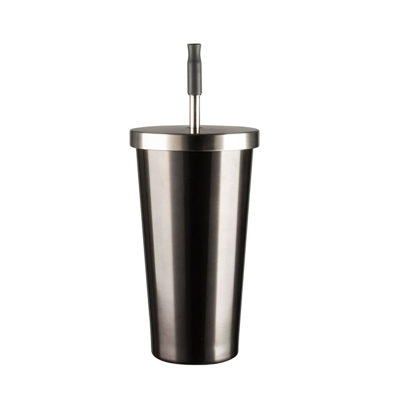 Avanti – Double Wall Insulated Stainless Steel Smoothie Tumbler with Straw 500ml Gunmetal