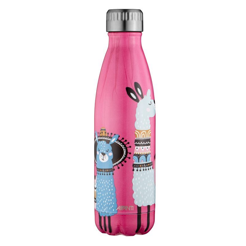 Avanti – Fluid Vacuum Stainless Steel Bottle 500ml Festive Llama Coral