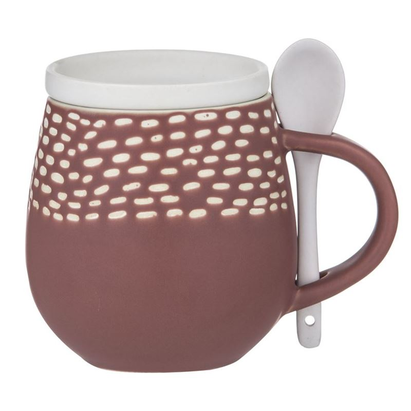 Davis & Waddell – Idyll 500ml Mug, Spoon and Lid 3pc Set Terracotta Red