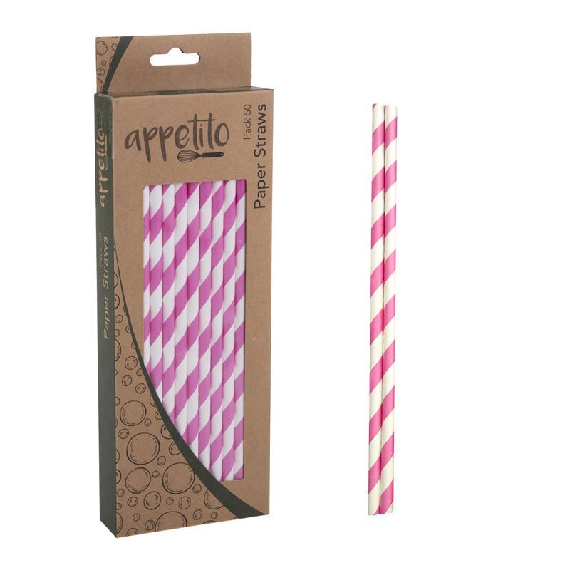 Appetito – Paper Straws Pack of 50 Pink Stripe
