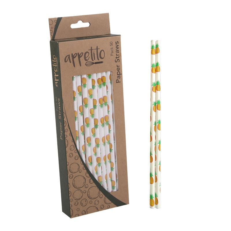 Appetito – Paper Straws Pack of 50 Pineapple