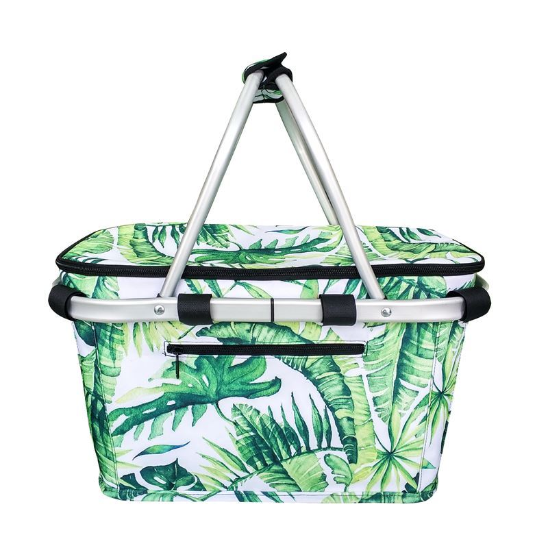 Sachi – Insulated Carry Basket with Lid Jungle Leaf