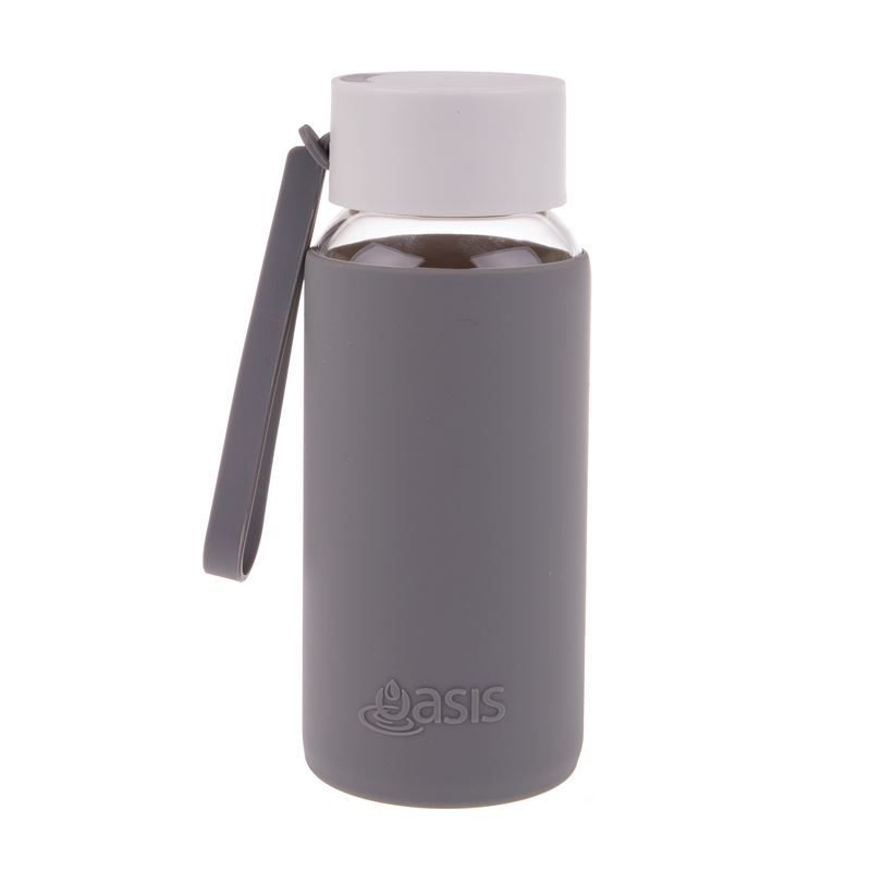 Oasis – Borosilicate Glass Water Bottle 500ml with Silicone Sleeve Charcoal