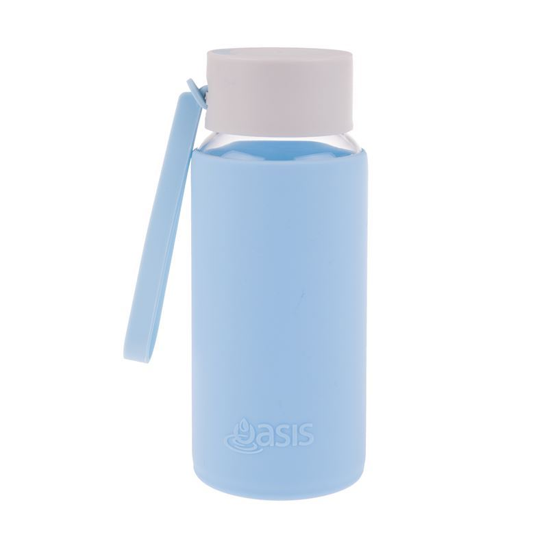 Oasis – Borosilicate Glass Water Bottle 500ml with Silicone Sleeve Powder Blue