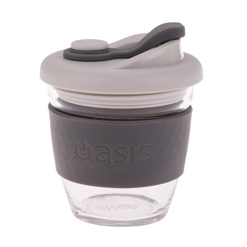 Oasis – Borosilicate Glass Reusable Eco Cup 227ml Charcoal