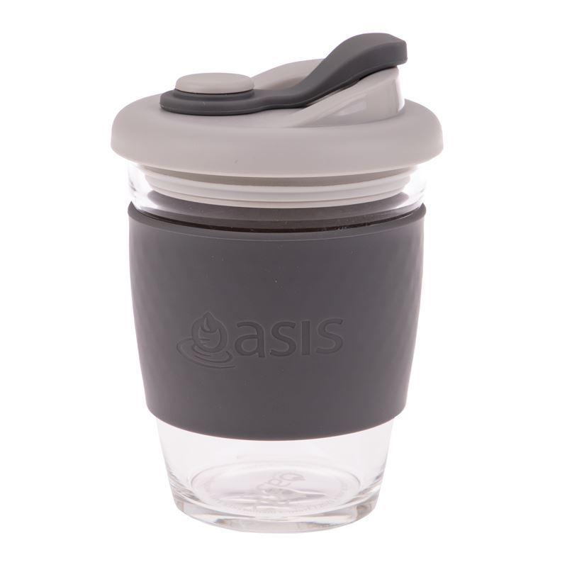 Oasis – Borosilicate Glass Reusable Eco Cup 340ml Charcoal