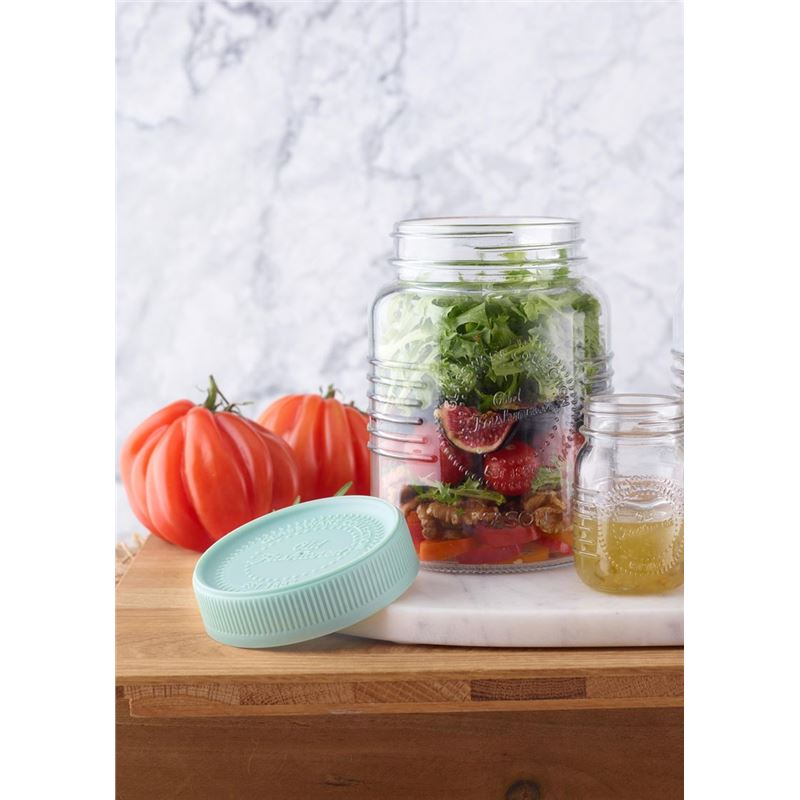 Mason – 'Old Fashioned' Salad on the Go with Salad Dressing Pot 1Ltr – Mint Lid