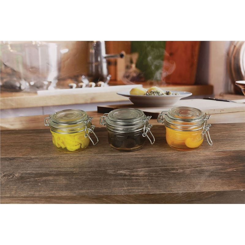 Circleware – 170ml Glass Spice Jar with Clip Set of 3