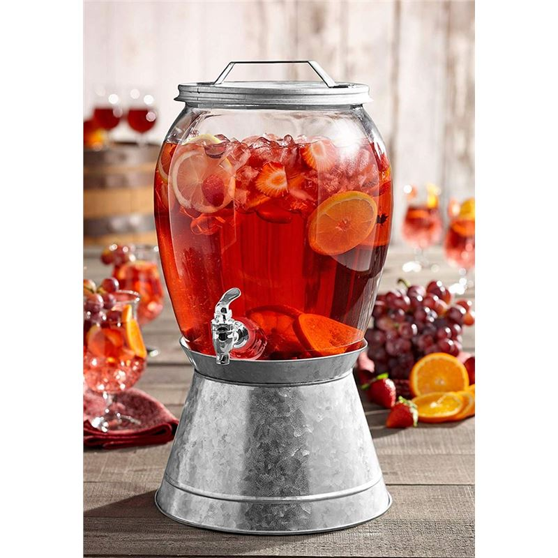 Circleware – Jaxon 7.5Ltr Glass Beverage Dispenser on Galavanised Ice Bucket Base