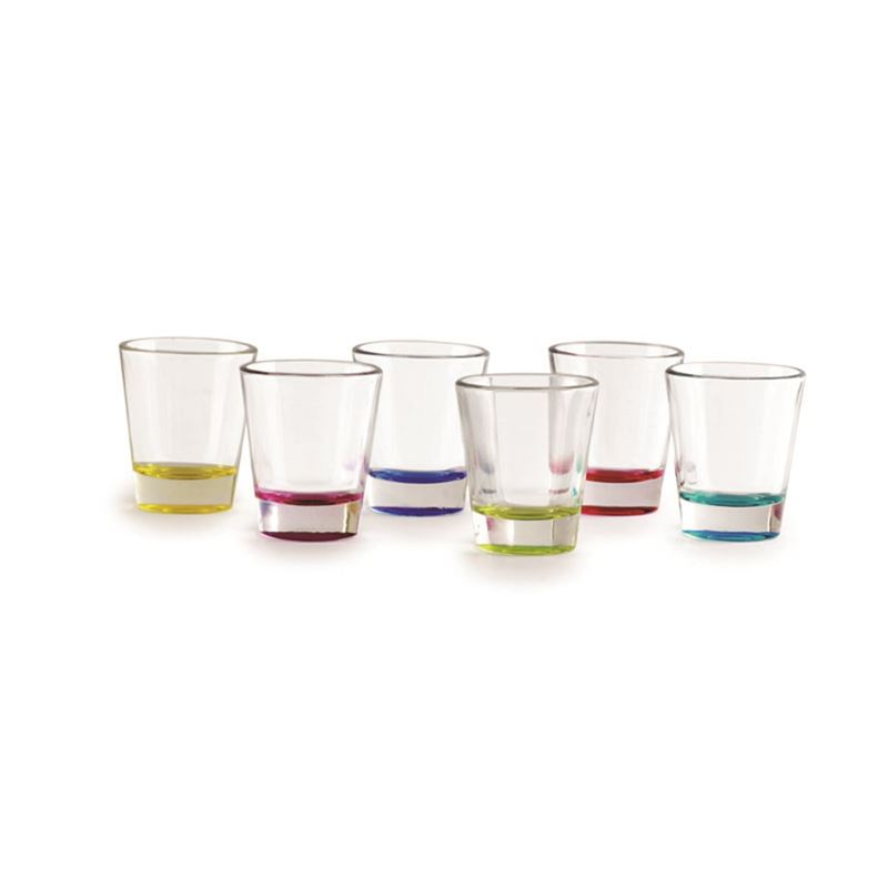 Circleware – Edge 60ml Glass Shot Glass with Coloured Band Base Set of 6