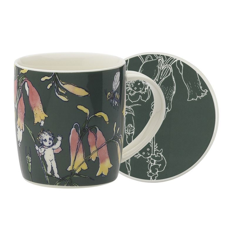 May Gibbs by Ecology – Bone China Flower Babies Dark Green 320ml Mug and Coaster