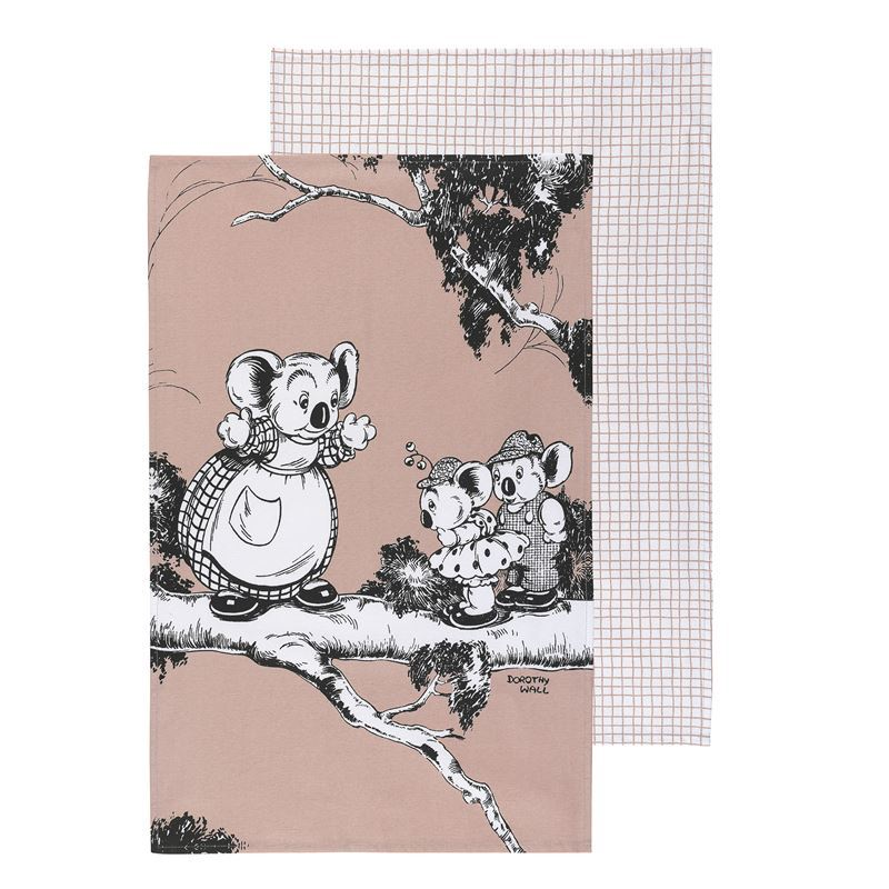 Blinky Bill by Ecology – 100% Cotton Tea Towel Set of 2 Coral