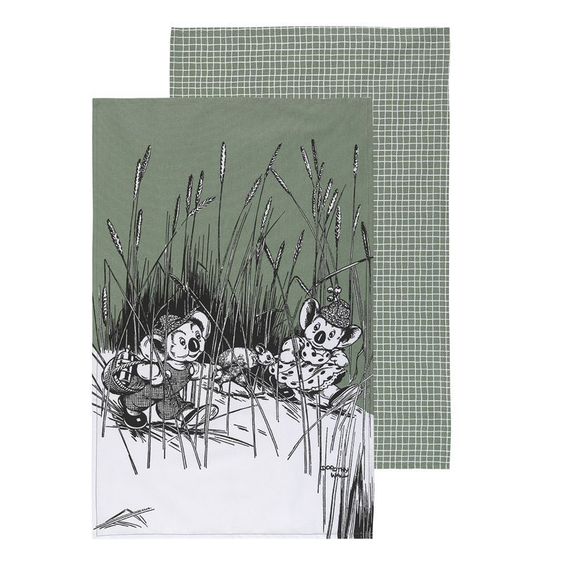 Blinky Bill by Ecology – 100% Cotton Tea Towel Set of 2 Sage Green