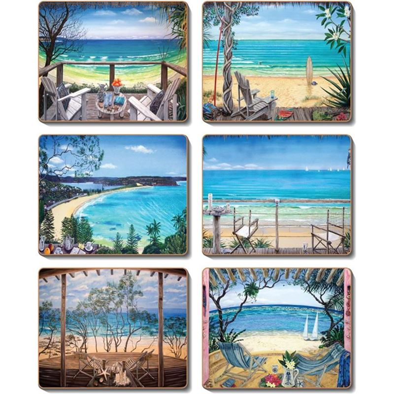 Cinnamon – Coastal Verandahs Coaster 11×9.5cm Set of 6