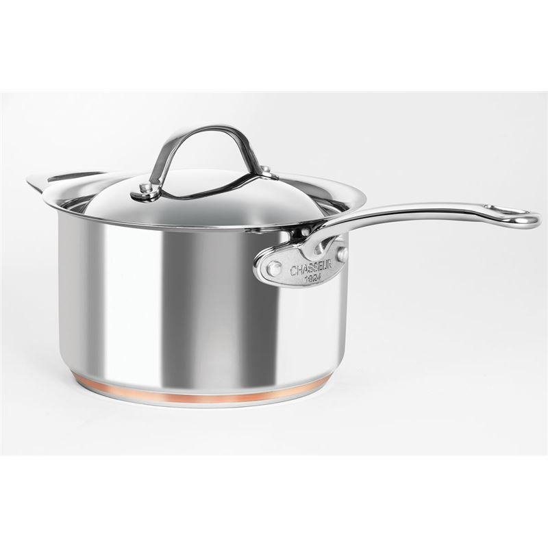 Chasseur – Le Cuivre 20cm 3.4Ltr Stainless Steel Copper Based Saucepan with Lid