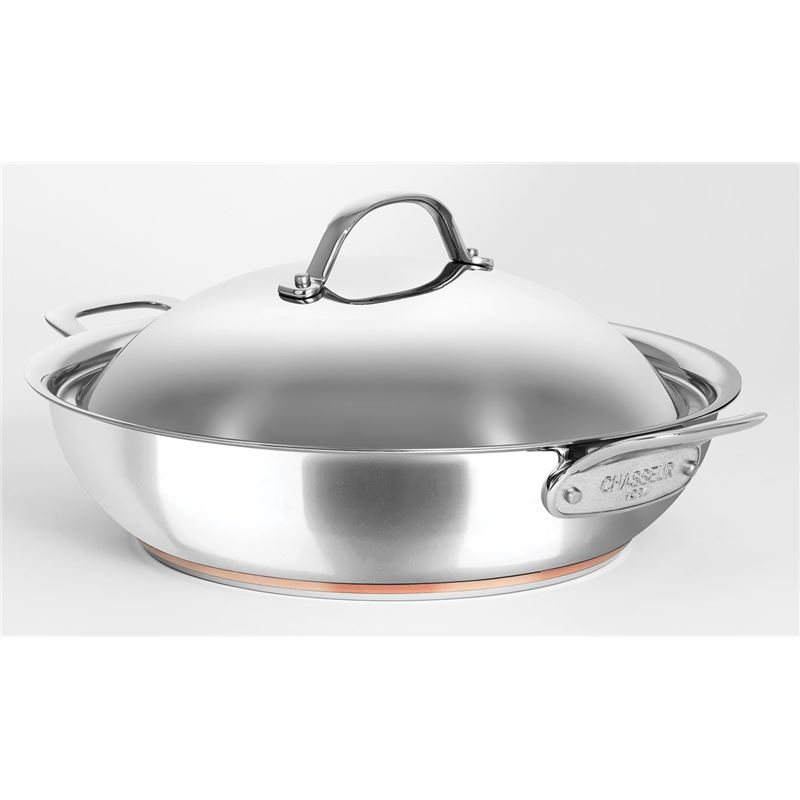 Chasseur – Le Cuivre 32cm 5.6Ltr Stainless Steel Copper Based Chef's Pan with Lid